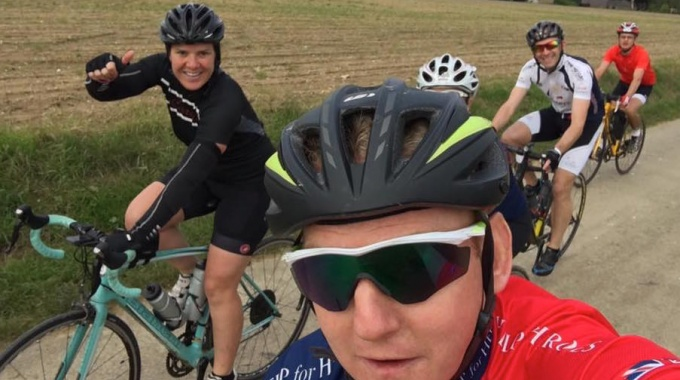 David perfecting the cycling selfie