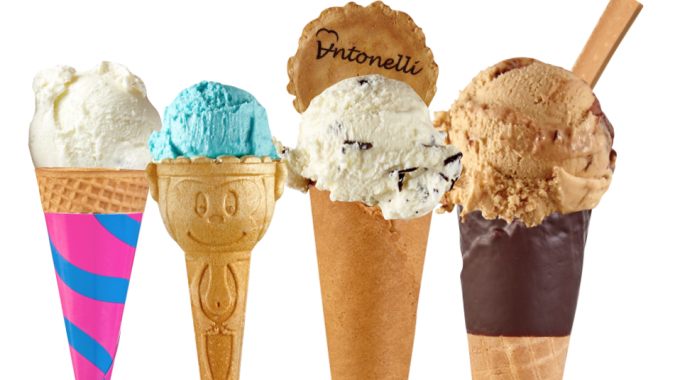 Cones with ice cream selection